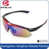 Le logo fait sur commande polarisé de la première qualité folâtre les lunettes de soleil de recyclage s'élevantes fonctionnantes équitation UV400 interchangeable de bras de lunettes de soleil de l'anti