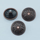 Weinlese Red Copper Plated Hollow heraus Metal Button