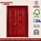 Carré en bois massif, une porte à double feuille inégale (GSP1-012)