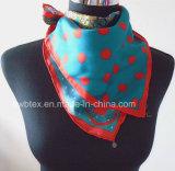 Großhandelspunkt-Drucken-Quadrat-Silk Dame Scarf (HWBS008)