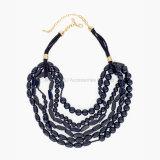 女性の宝石類の長く黒のためのネックレスは文のめっきされたマルチ層のネックレスの金に玉を付けた