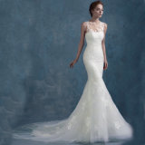 Fabriqué en usine de haute qualité en dentelle bretelles robe de mariée faite sur commande de mariage