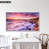 海岸の壁映像の美しい日没の油絵