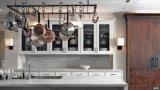 中国のカスタマイズされた白い台所家具PVC積層の食器棚