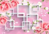 Peinture à l'huile 3D en forme de rose rose et à la forme de lèvres blanches pour la décoration intérieure