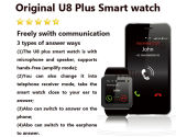 U8 Véritable plus Smart Watch pour iPhone et Android Phone