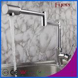 Double robinet en laiton de bassin de cuisine de bras de prolonge de Fyeer