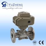 Electrical Actuator를 가진 3PC Stainless Steel Flanged Ball Valve