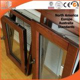 Finestra di alluminio di legno della stoffa per tendine di stile dell'America con gli otturatori integrati
