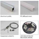 4K-2422 Streifen des Aluminium-LED, der Lichtschacht-Spur mit Diffuser (Zerstäuber) einhängt
