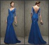 Vestido de noite azul W171927 do baile de finalistas do partido do vestido formal do laço de Chantilly