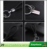 黒い織り方の革Keychain