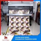 100GSM jejuam tamanho de alta velocidade seco do rolo do papel de transferência térmica do Sublimation para a impressão de matéria têxtil
