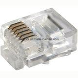 Conector modular del enchufe masculino de la garantía de calidad UTP/pista cristalina para 6p6c