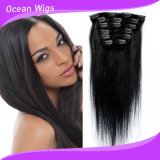 Essere umano Virgin Hair Extension, Virgin brasiliano Hair, Clip di 100% in Hair Extention