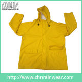 PVC giallo di Color/Polyester Long Rainwear/Rain Wear per Adult