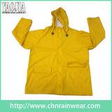 Desgaste largo PVC del color/de la ropa impermeable/de la lluvia amarillos del poliester para el adulto