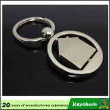 Keyring en blanco redondo girado del metal con su diseño