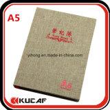 Cadernos de linho de carimbo quentes A4 do logotipo