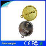 Memória Flash feita sob encomenda do USB do metal da forma da moeda de prata do ouro do logotipo