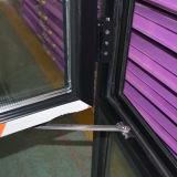 Guichet ouvert de tissu pour rideaux de couleur de la qualité Kz353 d'intérieur en aluminium gris de profil avec le blocage multi et la glace triple