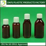 botella plástica del jarabe del animal doméstico 100ml con el casquillo alto de la prueba de la salida