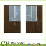 Armário de lima de madeira alto do escritório da porta de vidro moderna do sistema da mobília do armazenamento