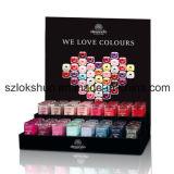 Étalage acrylique clair de vernis à ongles de renivellement, crémaillère en plastique à la mode de mur de vernis à ongles