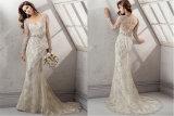 Süsse Spitze-Tulle-lange Hülsen-Nixe-Hochzeits-Kleider, angepasst