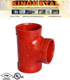 Тройник равного соединения Victaulic дуктильного утюга Grooved для трубы пожара