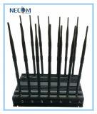 Emittente di disturbo potente del cellulare dello stampo dell'emittente di disturbo del segnale di GPS WiFi/4G, emittente di disturbo della fascia delle 14 antenne, emittente di disturbo del video segnale, emittente di disturbo del segnale del telefono per Wi-Fi+GPS+Lojack+VHF+UHF