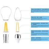 A60 E27, E26, B22 lumière d'ampoule du filament DEL 4W 6W