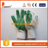 Guante de goma verde Dcl304 del algodón