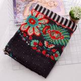 Lenço de seda viscoso impresso flor das mulheres da forma (YKY1150)