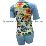 Protetor de duas partes curto do prurido do `S Lycra das mulheres para o Swimwear, o desgaste dos esportes e o desgaste do mergulho