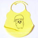 Babero promocional encantador vendedor caliente del bebé del caucho de silicón del bebé de la historieta