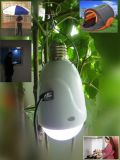 Diodo emissor de luz Redondo-Bulb Light Powered de Buy-1-Get-2 Solar 1W por AC/DC/Solar Panel 1001-00