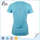 T-shirt de cou du polyester bon marché 100 V de femmes