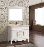 Pavimento Standing Solid Wood Antique Bathroom Vanity con Mirror