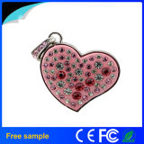 Promocional Gift Girl's Heart Crystal Pendrive Jóias 8GB USB Flash Drive