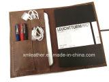 Organisateur en cuir mol fait sur commande d'ordre du jour de dépliant de fichier avec la boucle de crayon lecteur