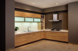 Simple Designs를 가진 멜라민 Laminated Wood Finish Particle Board Kitchen Cabinet