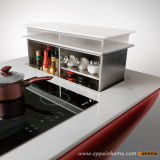 Armário de Cozinha MDF Automático de Laca Vermelha Brilhante Oppein (OP12-L062)