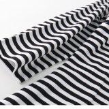 De halve T-shirt van de Strepen van Kokers Zwart-witte voor Vrouwen