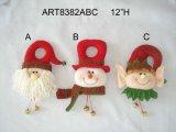 "12 "" H 산타클로스, 눈사람 및 꼬마요정 가정 훈장 문의 손잡이, 3 Asst"