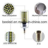La luz E14 25W del maíz del LED refresca la lámpara de plata blanca del bulbo de la carrocería LED del color