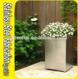 Pote de plantão quadrado Pote de flores de jardim de aço inoxidável