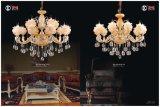 Indicatore luminoso a cristallo di lusso in lega di zinco del lampadario a bracci di progetto dell'hotel