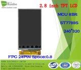 """2.8 """" étalage de TFT LCD de 240*320 MCU 8bit, IC : St7789s, FPC 24pin pour la position, sonnette, médicale, véhicules"""