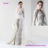 Wulstige tiefe v-lange Hülsen-Multi-Layerwedding Kleid mit Kapellen-Serie